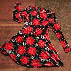 Velvet Poinsettia Dress